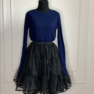 Topshop Navy Blue Knit Long Sleeve Crop Top
